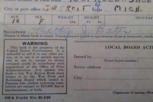 1943 War Ration Book with frugal messages
